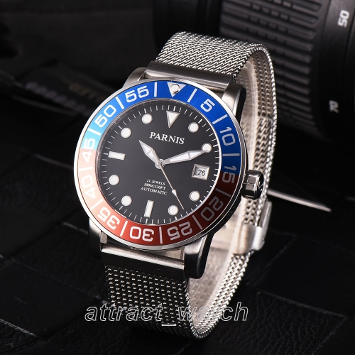 42mm Parnis Miyota Automatic Stainless Steel Bracelet 10 ATM Sapphire Men Watch